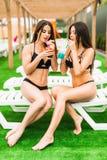 Πίσω όμορφες προκλητικές γυναίκες άποψης στην κατανάλωση μπικινιών κοκτέιλ χαλαρώνοντας στην πισίνα νεολαίες ενηλίκων στοκ εικόνες