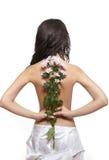 πίσω όμορφο κορίτσι λουλ& Στοκ Φωτογραφίες