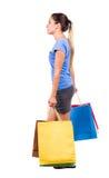 Πίσω όψη της πηγαίνοντας γυναίκας με τις τσάντες αγορών Στοκ Εικόνες