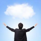 Πίσω όψη του άσπρου σύννεφου αγκαλιάσματος επιχειρησιακών ατόμων Στοκ εικόνες με δικαίωμα ελεύθερης χρήσης