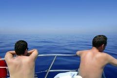 πίσω seascape θάλασσας βαρκών όψη Στοκ εικόνα με δικαίωμα ελεύθερης χρήσης