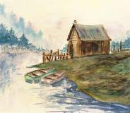 πίσω watercolor κόλπων Στοκ Φωτογραφίες