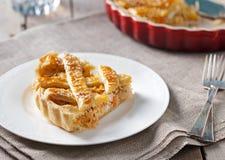 Πίτα λάχανων σε ένα άσπρο γκρίζο υφαντικό υπόβαθρο πιάτων Στοκ φωτογραφίες με δικαίωμα ελεύθερης χρήσης