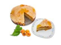 Πίτα βερίκοκων, κομμάτι της πίτας στο πιάτο, διάφορα φρέσκα βερίκοκα Στοκ Φωτογραφία