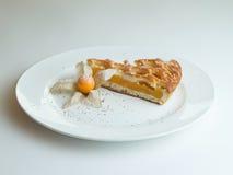 Πίτα βερίκοκων σε ένα άσπρο πιάτο Στοκ φωτογραφία με δικαίωμα ελεύθερης χρήσης