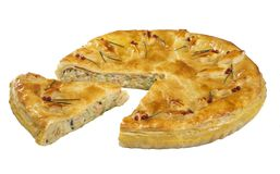 Πίτα, κέικ σαλάτας που απομονώνεται Στοκ Φωτογραφία