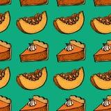 Πίτα κολοκύθας με το άνευ ραφής σχέδιο κρέμας Συρμένο χέρι σκίτσο του κομματιού πιτών και του τεμαχισμένου κομματιού της κολοκύθα Στοκ Φωτογραφίες