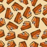 Πίτα κολοκύθας με το άνευ ραφής σχέδιο κρέμας Συρμένο χέρι σκίτσο του κομματιού πιτών Διανυσματική απεικόνιση ημέρας των ευχαριστ Στοκ Εικόνες