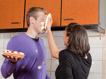Πίτα κρέμας στο πρόσωπό του Στοκ εικόνα με δικαίωμα ελεύθερης χρήσης