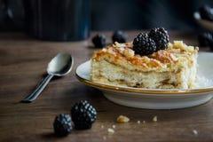 Πίτα με τα βατόμουρα σε ένα πιάτο σε ένα ξύλινο τόξο φλυτζανιών επιτραπέζιων κουταλιών Στοκ Φωτογραφίες