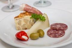 Πίτα σαλαμιού και τυρί παρμεζάνας στο πιάτο Antipasti Στοκ εικόνες με δικαίωμα ελεύθερης χρήσης