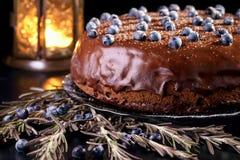 Πίτα σοκολάτας με τα βακκίνια στοκ εικόνες