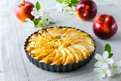 Πίτα της Apple και άνθος μήλων στην πετσέτα λινού Στοκ Εικόνες