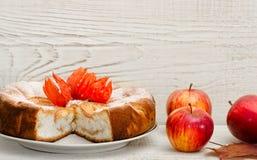 Πίτα της Apple και ώριμα μήλα σε ένα ελαφρύ ξύλινο υπόβαθρο, με το διάστημα για το κείμενο Στοκ φωτογραφίες με δικαίωμα ελεύθερης χρήσης