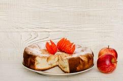 Πίτα της Apple και ώριμα μήλα σε ένα ελαφρύ ξύλινο υπόβαθρο Στοκ Φωτογραφίες