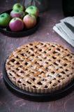 Πίτα της Apple με ένα δικτυωτό πλέγμα της whole-grain ζύμης, σύνολο και στα κομμάτια Στοκ Φωτογραφία