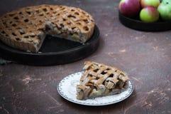 Πίτα της Apple με ένα δικτυωτό πλέγμα της whole-grain ζύμης, σύνολο και στα κομμάτια Στοκ φωτογραφία με δικαίωμα ελεύθερης χρήσης