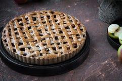 Πίτα της Apple με ένα δικτυωτό πλέγμα της whole-grain ζύμης, σύνολο και στα κομμάτια Στοκ Εικόνα