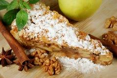 Πίτα της Apple με τα καρυκεύματα, τα ραβδιά κανέλας, το γλυκάνισο και τα καρύδια Στοκ φωτογραφίες με δικαίωμα ελεύθερης χρήσης