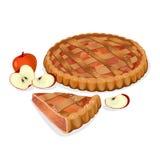 Πίτα της Apple με τα φρούτα, φέτα περικοπών που απομονώνεται Παραδοσιακό σπιτικό νόστιμο κέικ Στοκ φωτογραφία με δικαίωμα ελεύθερης χρήσης