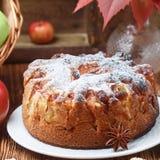 Πίτα της Apple με την κανέλα, καρδάμωμο, γλυκάνισο, κονιοποιημένη ζάχαρη Στοκ Εικόνες