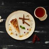 Πίτα της Apple με την κανέλα στο στρογγυλό πιάτο Στοκ εικόνα με δικαίωμα ελεύθερης χρήσης