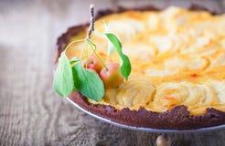 Πίτα της Apple με την κρέμα στον ξύλινο πίνακα Γλουτένη ελεύθερη Στοκ φωτογραφίες με δικαίωμα ελεύθερης χρήσης