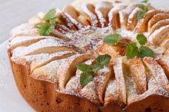 Πίτα της Apple με τη μέντα, κανέλα που ψεκάζεται με την κονιοποιημένη ζάχαρη Στοκ Εικόνες