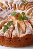 Πίτα της Apple με τη μέντα που ψεκάζεται με την κονιοποιημένη ζάχαρη κάθετος Στοκ Εικόνες