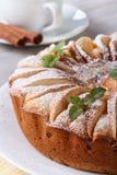 Πίτα της Apple με τη μέντα σε μια άσπρη κατακόρυφο πιάτων και καφέ Στοκ φωτογραφία με δικαίωμα ελεύθερης χρήσης