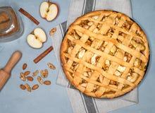 Πίτα της Apple ξινή με τις σταφίδες, τα καρύδια και την κανέλα Παραδοσιακό επιδόρπιο για τη ημέρα της ανεξαρτησίας στην Αμερική Α Στοκ εικόνα με δικαίωμα ελεύθερης χρήσης