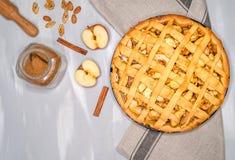 Πίτα της Apple ξινή με τις σταφίδες, τα καρύδια και την κανέλα Παραδοσιακό επιδόρπιο για τη ημέρα της ανεξαρτησίας στην Αμερική Α Στοκ φωτογραφίες με δικαίωμα ελεύθερης χρήσης