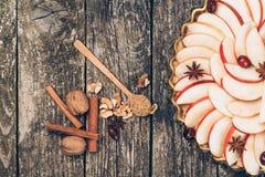 Πίτα της Apple ξινή στο αγροτικό ξύλινο υπόβαθρο Συστατικά - μήλα και κανέλα Τοπ όψη Στοκ Εικόνες