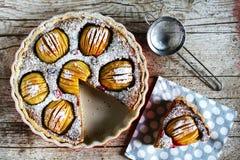 Πίτα της Apple, που τεμαχίζεται, με ολόκληρα τα σημειωμένα μήλα και την πλήρωση κρέμας ξύλων καρυδιάς Στοκ φωτογραφίες με δικαίωμα ελεύθερης χρήσης