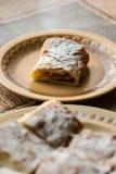 Πίτα της Apple που τεμαχίζεται στο πιάτο με την κονιοποιημένη ζάχαρη Στοκ εικόνες με δικαίωμα ελεύθερης χρήσης