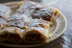 Πίτα της Apple που τεμαχίζεται στο πιάτο με την κονιοποιημένη ζάχαρη Στοκ Εικόνα
