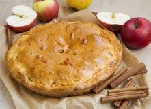 Πίτα της Apple που ψήνεται πρόσφατα με τα μήλα και την κανέλα Στοκ Εικόνα