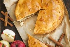 Πίτα της Apple που ψήνεται πρόσφατα με τα μήλα και την κανέλα Στοκ φωτογραφία με δικαίωμα ελεύθερης χρήσης