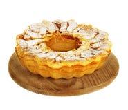 Πίτα της Apple, Σαρλόττα σε μια πετσέτα που απομονώνεται στο άσπρο υπόβαθρο Στοκ Φωτογραφία
