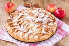 Πίτα της Apple σε ένα ξύλινο υπόβαθρο με την κανέλα Στοκ φωτογραφίες με δικαίωμα ελεύθερης χρήσης