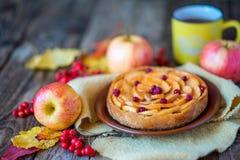 Πίτα της Apple σε μια ξύλινη σύσταση με τα κόκκινα μούρα Στοκ φωτογραφία με δικαίωμα ελεύθερης χρήσης