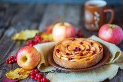 Πίτα της Apple σε μια ξύλινη σύσταση με τα κόκκινα μούρα Στοκ Φωτογραφίες
