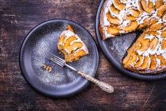 Πίτα της Apple στο αγροτικό υπόβαθρο Στοκ εικόνες με δικαίωμα ελεύθερης χρήσης