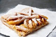 Πίτα της Apple στο μίας χρήσης πιάτο εγγράφου Διπλή πίτα μήλων κρουστών με την κανέλα Στοκ εικόνες με δικαίωμα ελεύθερης χρήσης