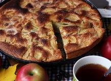 Πίτα της Apple, τοπ άποψη Ακόμα ζωή, τρόφιμα Στοκ Φωτογραφίες