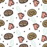 Πίτα της Apple, pretzel και άνευ ραφής σχέδιο καφέ doodle Απεικόνιση αποθεμάτων