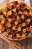 Πίτα των θερινών λαχανικών: καρότα, τεύτλα, κολοκύθια και μελιτζάνα Στοκ Φωτογραφίες