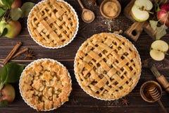 Πίτες και συστατικά της Apple στο ξύλινο υπόβαθρο Στοκ φωτογραφίες με δικαίωμα ελεύθερης χρήσης