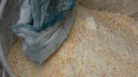 Πίτουρο ή νιφάδες καλαμποκιού στην ειδική μηχανή για το σιτάρι Cornmeal ή το τεμαχισμένο καλαμπόκι κοντά επάνω βλέπει απόθεμα βίντεο