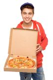 πίτσα ατόμων παράδοσης Στοκ εικόνες με δικαίωμα ελεύθερης χρήσης